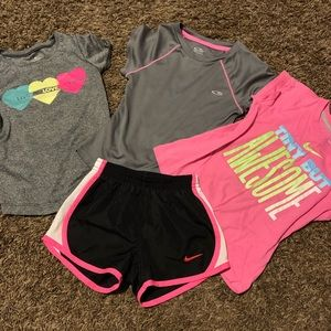 3 shirts / 1 athletic shorts